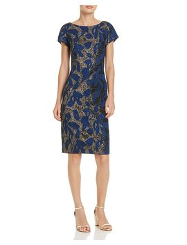 Metallic Jacquard Sheath Dress by Adrianna Papell