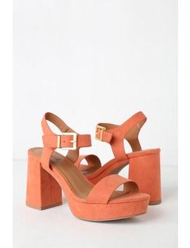 Kimala Ash Coral Suede Platform Heels by Lulu's