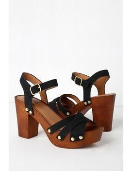 Talia Black Nubuck Wooden Platform Heels by Lulu's