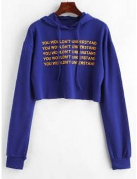 Letter Graphic Loose Crop Hoodie   Blue L by Zaful