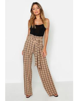 Paperbag Waist Checked Wide Leg Trouser by Boohoo