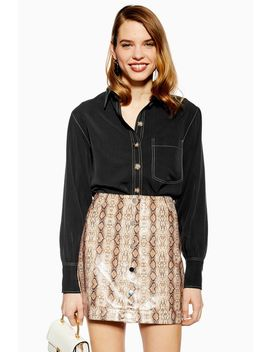 Topstitch Tencel Shirt by Topshop