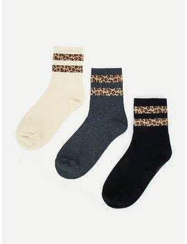 Striped Hem Socks 3pairs by Sheinside