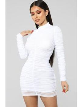 Paparazzi Ruched Dress   White by Fashion Nova