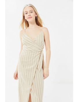 Uo Quebec Linen Side Tie Midi Wrap Dress by Urban Outfitters