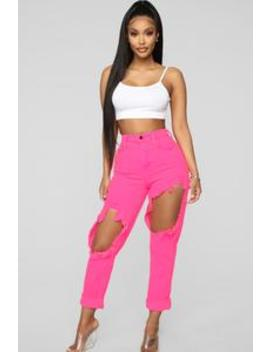 Time To Burn Distressed Boyfriend Jeans   Pink by Fashion Nova