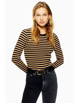 Long Sleeve Stripe Scallop T Shirt by Topshop
