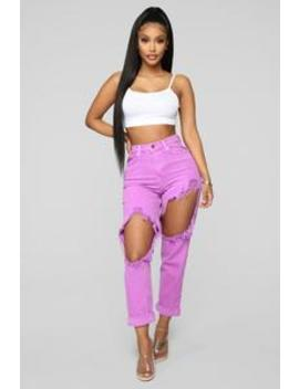 Time To Burn Distressed Boyfriend Jeans   Purple by Fashion Nova