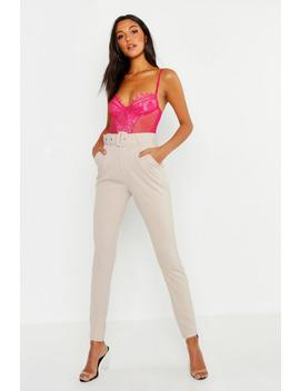 Tall Belted Woven Tailored Trouser by Boohoo