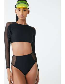 Mesh Trim Swim Top by Forever 21