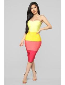 Pull Me In Closer Bandage Dress   Yellow/Combo by Fashion Nova