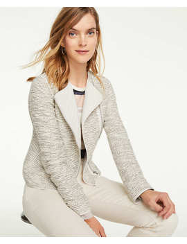 Petite Quilted Tweed Moto Jacket by Ann Taylor