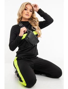 Black Neon Green Stripe Loungewear Set   Ariella by Rebellious Fashion