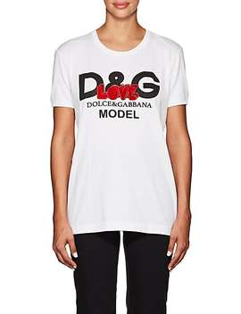 """Love"" Embellished Logo Cotton T Shirt by Dolce & Gabbana"