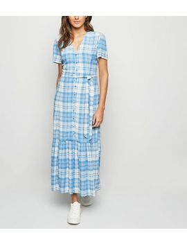 Blue Check Button Front Tiered Maxi Dress by New Look