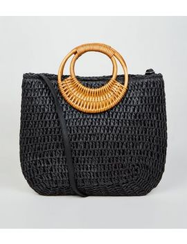 Black Woven Handles Straw Effect Tote Bag by New Look