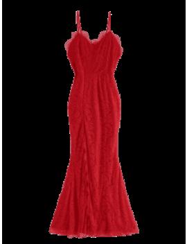 High Slit Spaghetti Strap Lace Dress   Red M by Zaful