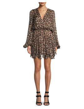 Olena Leopard Print Silk Mini Dress by Neiman Marcus