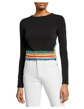 Delaina Embroidered Long Sleeve Crop Top by Neiman Marcus