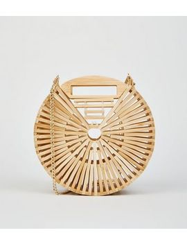 Stone Slatted Bamboo Round Shoulder Bag by New Look