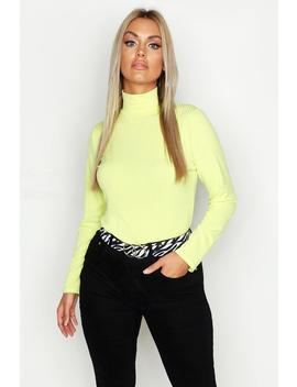 Plus Jumbo Rib Neon Polo Neck by Boohoo