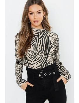Zebra Plisse High Neck Top by Boohoo