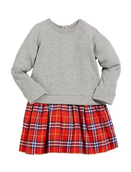 Francine Sweatshirt & Plaid Skirt Dress, Size 4 14 by Neiman Marcus