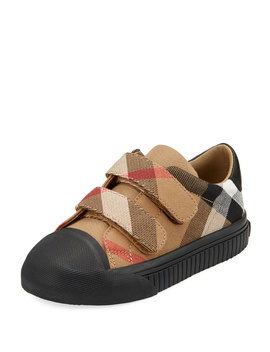 Belside Check Sneaker, Beige/Black, Toddler/Youth Sizes 10 T 4 Y by Burberry