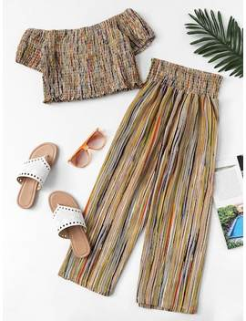 Striped Frill Pleated Two Piece Outfit by Sheinside