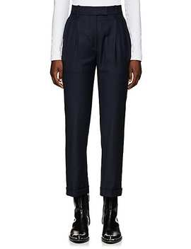 Checked Wool Pleated Trousers by Calvin Klein 205 W39 Nyc