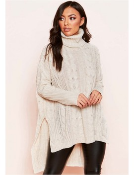 Dani Beige Cable Knit Roll Neck Jumper by Missy Empire