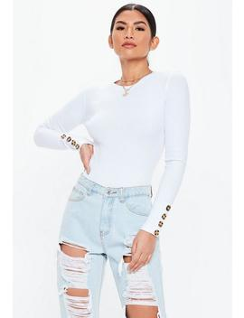 White Crew Neck Horn Button Bodysuit by Missguided