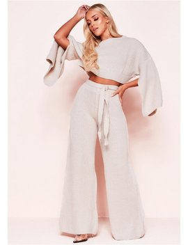 Francie Beige Knit Ribbed Split Sleeve Co Ord Set by Missy Empire