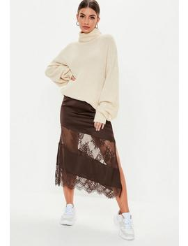 Brown Satin Lace Insert Slip Midi Skirt by Missguided