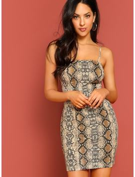 Snake Skin Print Fitted Cami Dress by Shein