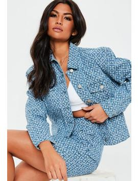 Blue Geometric Print Cropped Boxy Denim Co Ord Jacket by Missguided