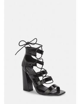 Black Faux Croc Flare Heel Ghillie Sandals by Missguided