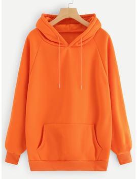 Neon Orange Raglan Sleeve Kangaroo Pocket Hoodie by Sheinside