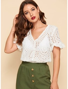 Flounce Sleeve Circle Embroidery Blouse by Shein