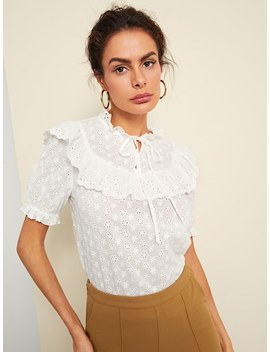 Embroidered Eyelet Knot Ruffle Top by Shein
