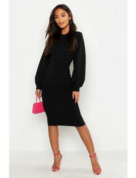 Petite Balloon Sleeve Midaxi Dress by Boohoo