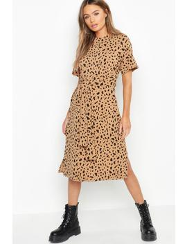 Tie Waist Dalmatian Print Shift Dress by Boohoo