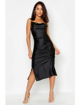 Satin Ruched Side Dress by Boohoo