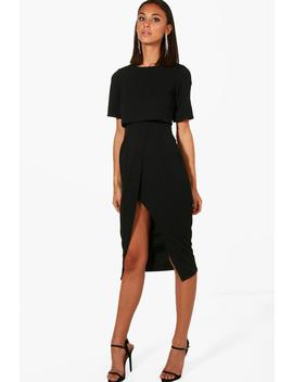 Layered Wrap Wiggle Midi Dress by Boohoo