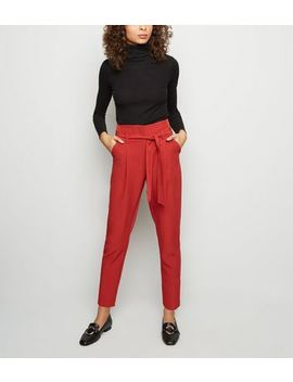 Dark Red Tie Paperbag Waist Trousers by New Look