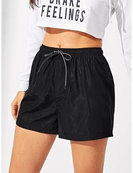 Elastic Waist Drawstring Solid Shorts by Shein