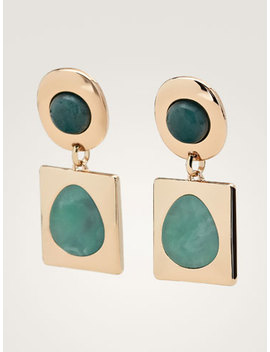Stone And Geometric Piece Earrings by Massimo Dutti
