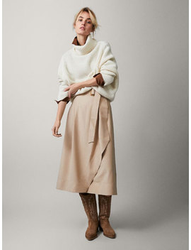 Wrap Midi Skirt With Belt by Massimo Dutti
