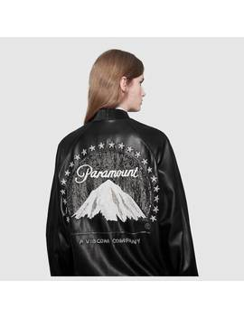 Leather Bomber With Paramount Logo by Gucci