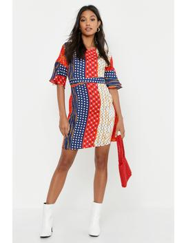 Polka Dot Chain Print Wrap Around Shift Dress by Boohoo